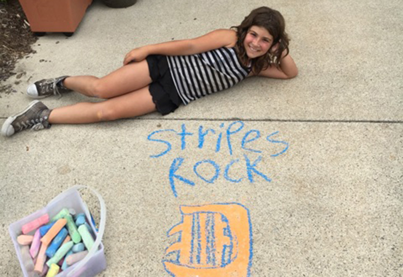 Kylie and her chalk drawing